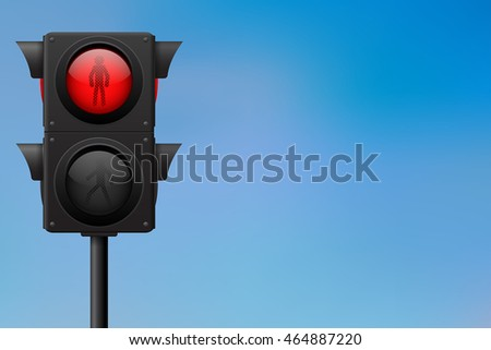 Traffic lights. Red for pedestrians. Vector illustration