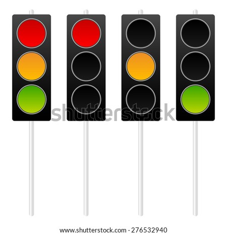 Traffic lights, traffic lamps isolated on white. Vector. - stock vector