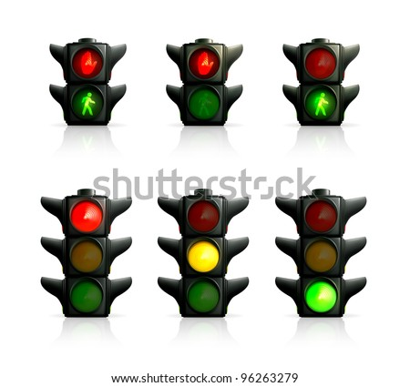 Traffic lights, vector - stock vector