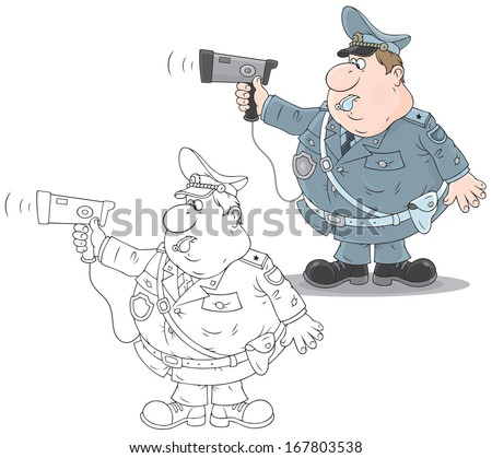 traffic officer holding an autoradar for speed control - stock vector