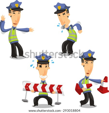Traffic Police with whistle cone and barrier  - stock vector