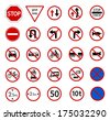 traffic prohibition sign for warming on road and safety street sign, vector icon set - stock