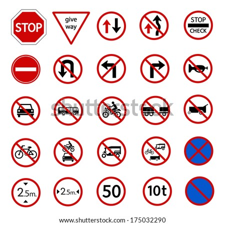 traffic prohibition sign for warming on road and safety street sign, vector icon set - stock vector