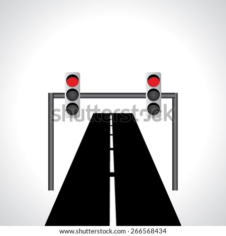 traffic red signal light idea vector with road  - stock vector