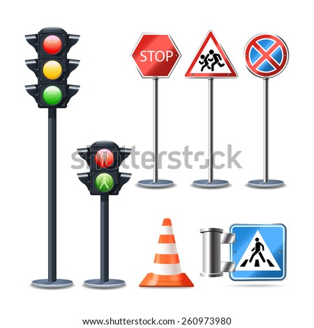 Traffic sign and lights realistic 3d decorative icons set isolated vector illustration - stock vector
