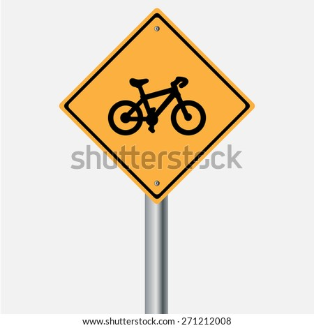Traffic sign . bicycle warning  sign