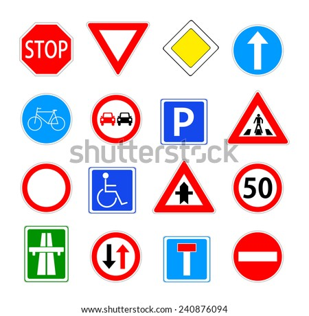 Traffic sign collection. red, blue, green and yellow warning, priority, prohibitory, mandatory... road sings set. vector art image illustration, isolated on white background - stock vector