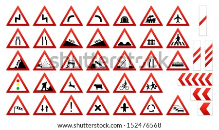 Traffic sign collection: Warnings - stock vector