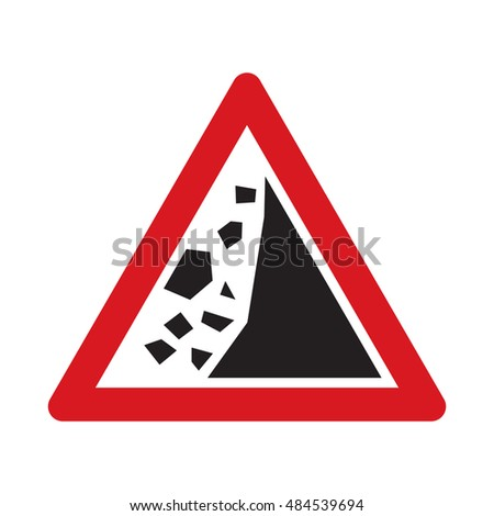 Traffic sign falling rocks or debris. Vector illustration.