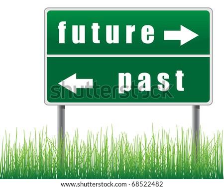 Traffic sign future past grass below. - stock vector