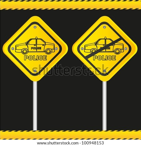 traffic sign isolated on black background, vector illustration