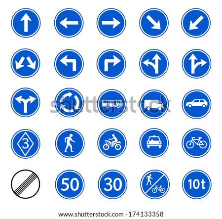 traffic sign of regulatory for warming on street, safety road sign, vector set - stock vector