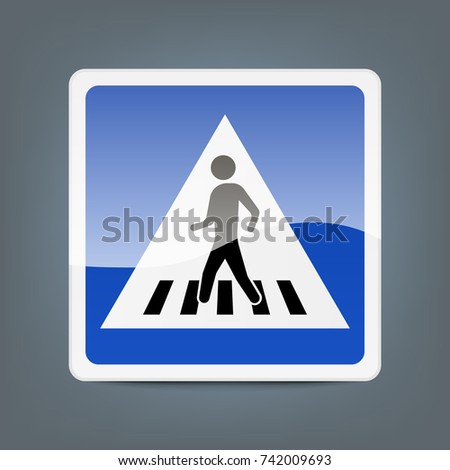 Traffic sign pedestrian crossing isolated on background. Vector illustration. Eps 10.