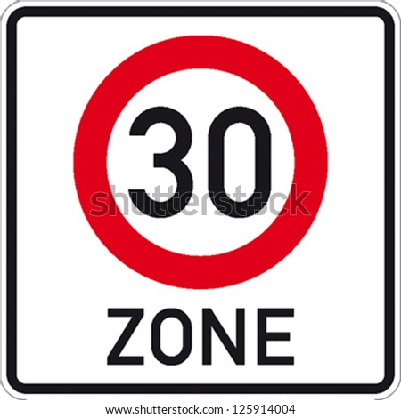 traffic sign speed limit area thirty