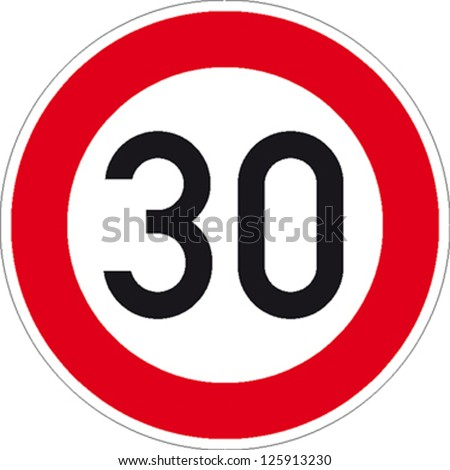 traffic sign speed limit thirty