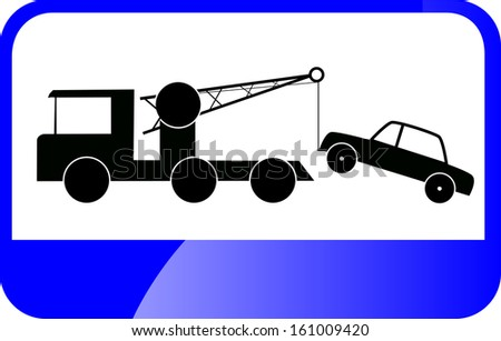 Traffic Sign - Tow Car - stock vector
