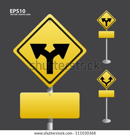 TRAFFIC sign yellow vector - stock vector