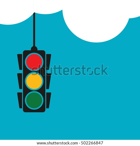 Traffic signal light hanging from clouds, vector illustration