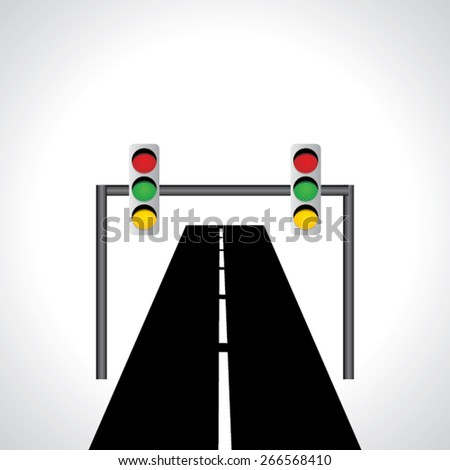 traffic signal light red green and yellow idea vector with road  - stock vector