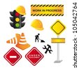 traffic signs isolated over white background. vector illustration - stock photo