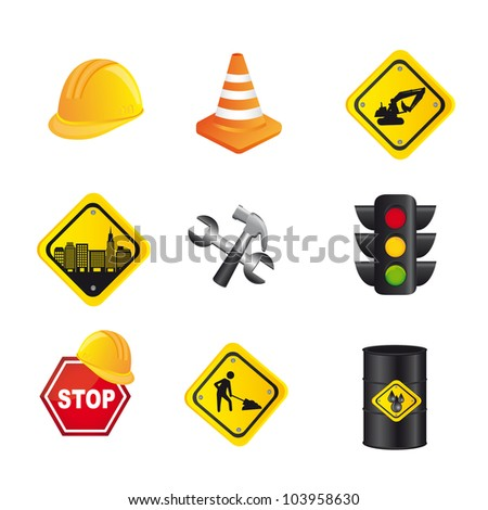 traffic signs isolated over white background. vector illustration - stock vector