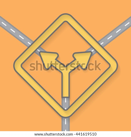 Traffic signs on Street road vector Background