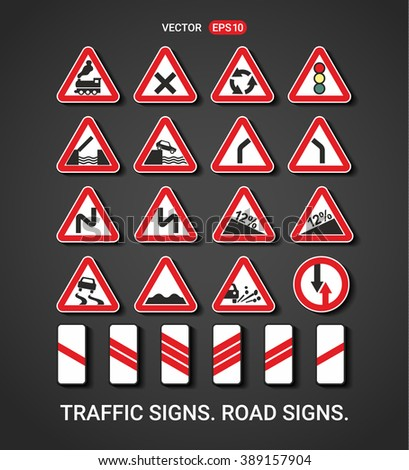 TRAFFIC SIGNS. ROAD SIGNS. VECTOR.
