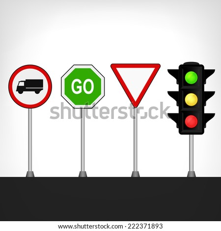 traffic signs set with semaphore vector illustration