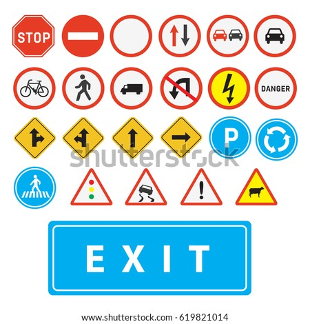 traffic signs vector.Set of road sign.Traffic-Road Sign Collection.
