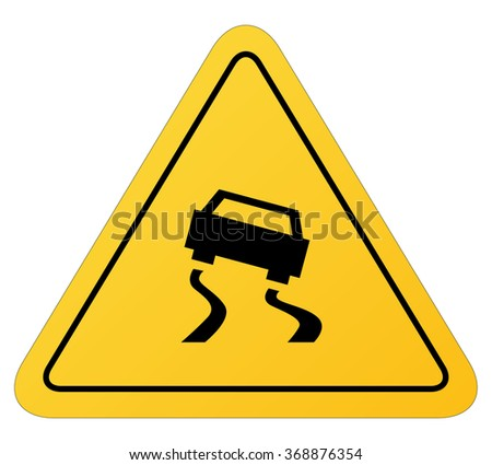 Traffic signs:warning slippery road. - stock vector