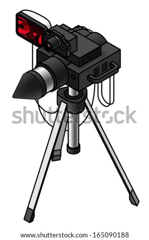 traffic speed trap camera/radar unit on a tripod. - stock vector
