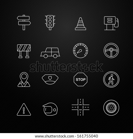 traffic vector thin line symbol icon on black background - stock vector