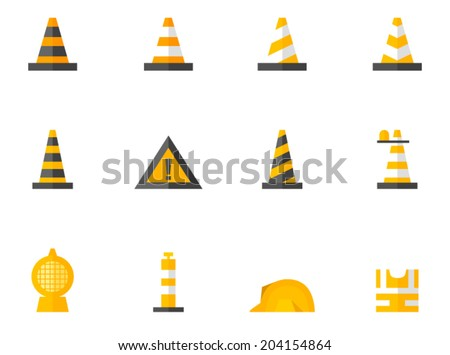 Traffic warning sign icon series in flat colors style - stock vector