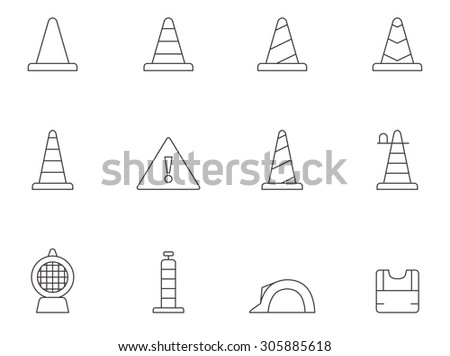 Traffic warning sign icons in thin outlines. - stock vector