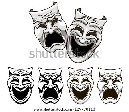 Tragedy and comedy theater masks set in cartoon style. Jpeg version also available in gallery - stock vector