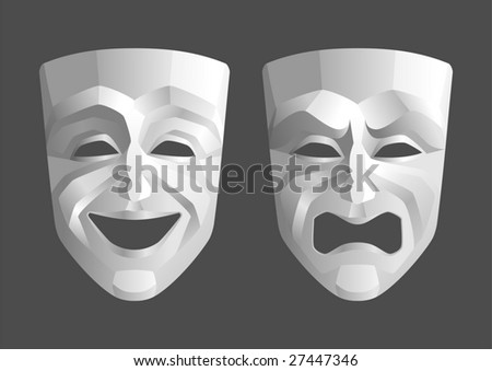 Tragicomic Theater Masks. Comedian and tragedy grotesque masks - stock vector