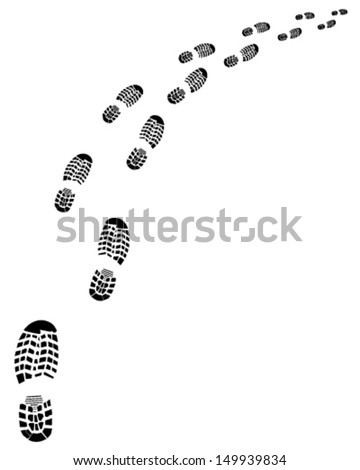 Trail of shoes prints-vector  - stock vector