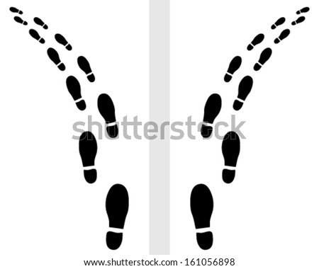 Trail of shoes prints-vector illustration - stock vector