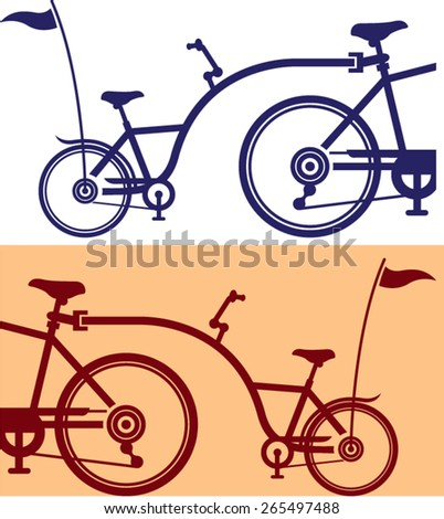 Trailer cycle. Bicycle attachment. Co-pilot bicycle. - stock vector