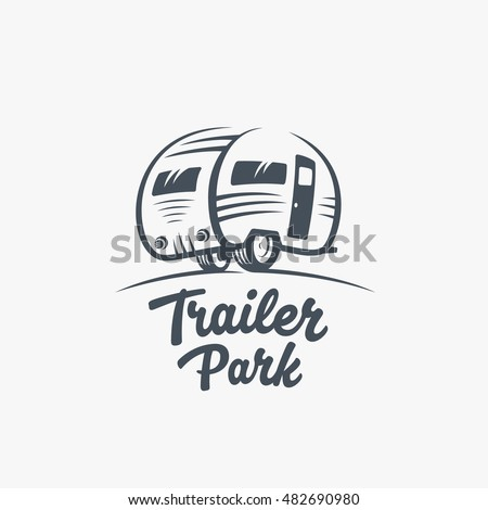 Trailer Or Van Park Vector Logo Template Silhouette Tourism Icon Label With Retro Typography