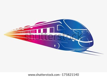 TRAIN COLOR vector - stock vector