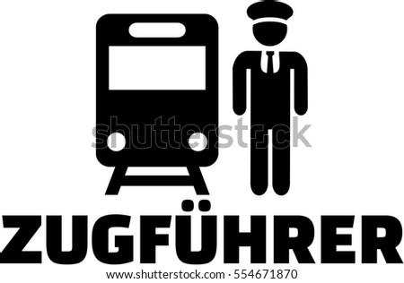 Train driver icon with german job title