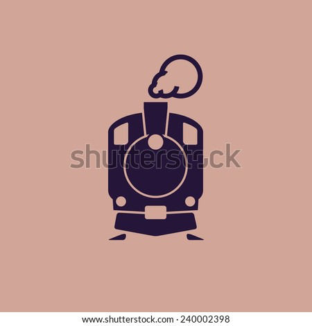 Train icon: old classic steam engine locomotive pictogram on flat background. For maps, schemes, applications and infographics.  - stock vector