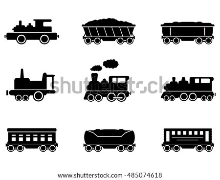 train isolated black icons symbols set on white background for railroad or transportation industry