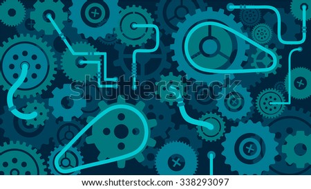 Train of gears, trundles and cogwheels, complex clock or machine mechanism, cog in the machine, vector background