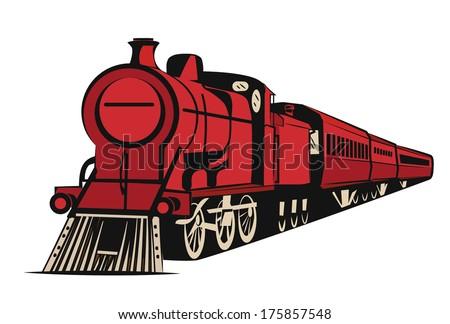 TRAIN old looking, illustration vector - stock vector