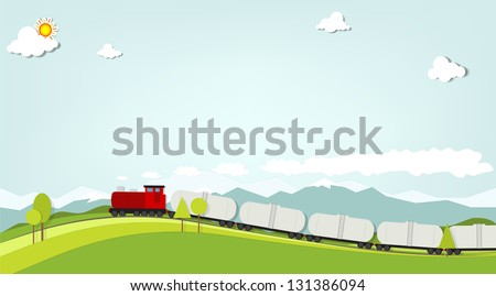train on a background of mountains - stock vector