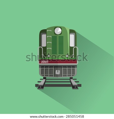 Train on rail road. Flat vector illustration. Front view. - stock vector