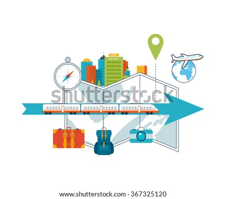 Train on railway. Traveling on airplane, planning a summer vacation and tourism Passenger transport concept. Train on the background of the city. City scape background. Urban landscape. Color line icons - stock vector