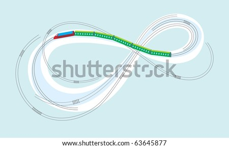 Train on the Moebius strip - stock vector